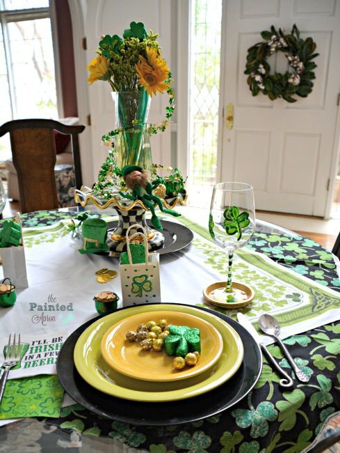 I got really lucky last year when I found a very special package in my mailbox, the Lucky Traveling Shamrock Table Topper!     This festive vintage topper, covered with sham…