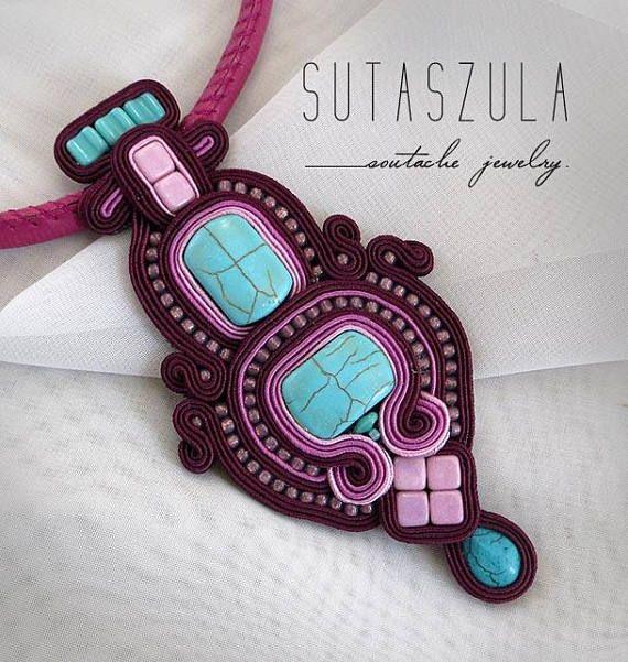 Marsala unique soutache necklace bead embroidery necklace