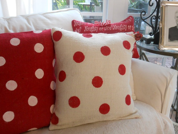 christmas pillows!  love this design, I would use thrifted sweaters and felt dots