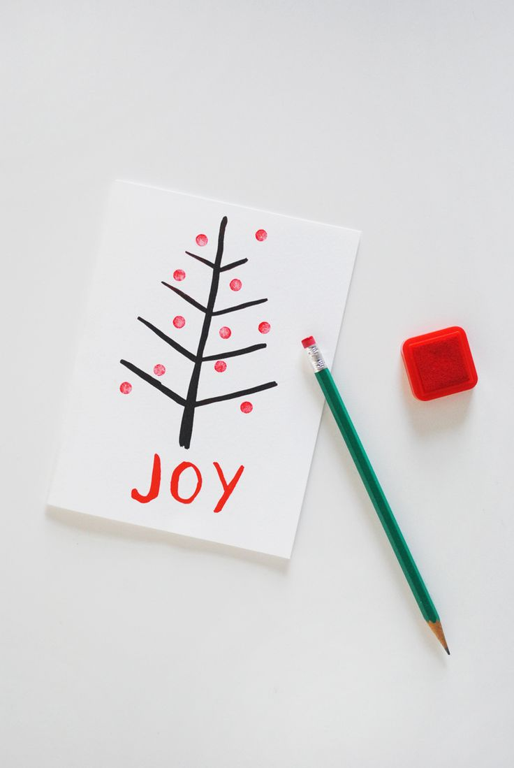 Eraser-Stamped Homemade Christmas Cards | Send your little one off to school with these custom Christmas card ideas that they can personalizes themselves.