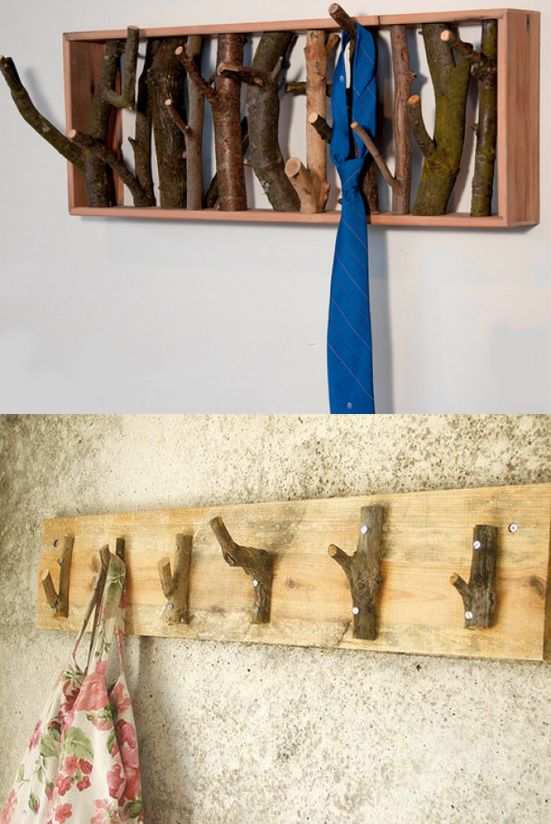 Colgador hecho con ramas