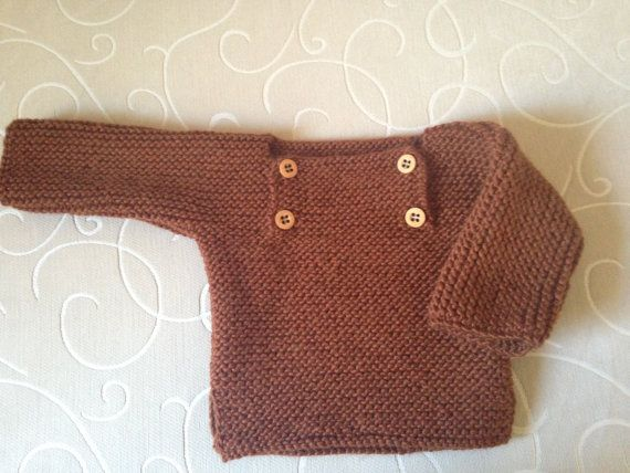 Hand knitted  boy/ girl Chunky  Easy Fit Jumper with wooden Button- 18 months - Brick  colour-STYLE #7
