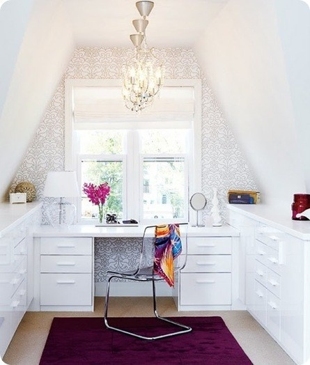 loft or attic room turned office/craft room - bright white with fuchsia rug and accent
