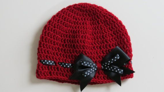 Handmade Crochet Baby Girl Hat in Red with black and white spotty bow, Photo Prop, Baby Girl Hat, Made to order, Many Colours Available