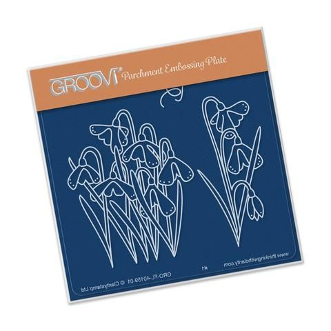 Snowdrops <br/> A6 Square Groovi Baby Plate <br/> (Set GRO-FL-40335-01)