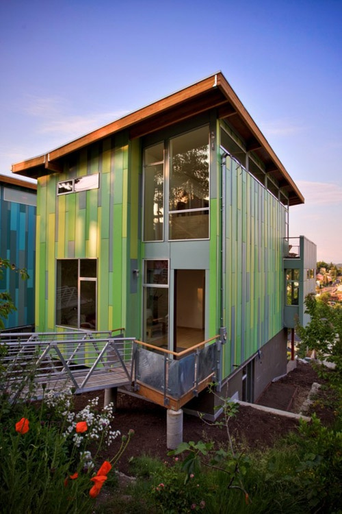 This eco affordable home is green in more ways than one! Designed by Case  Architects, the eco home dubbed Columbia City Green features a funky green  ...