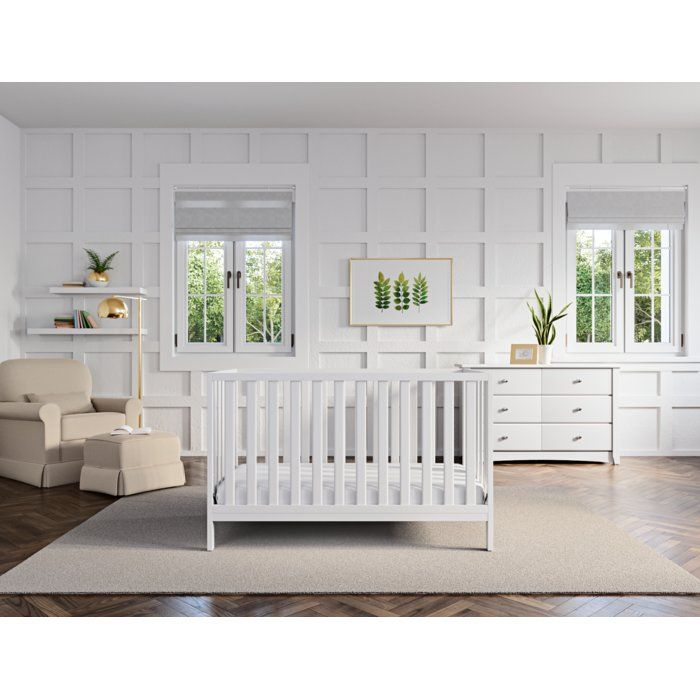 This Pacific Crib combines clean lines with contemporary style to match any nursery décor. With its simple, beautiful design, this crib features a low-profile for easy access to your baby and offers a three-position adjustable mattress support base. Providing long-lasting use for your child, the crib converts to a toddler bed, daybed and full-size.
