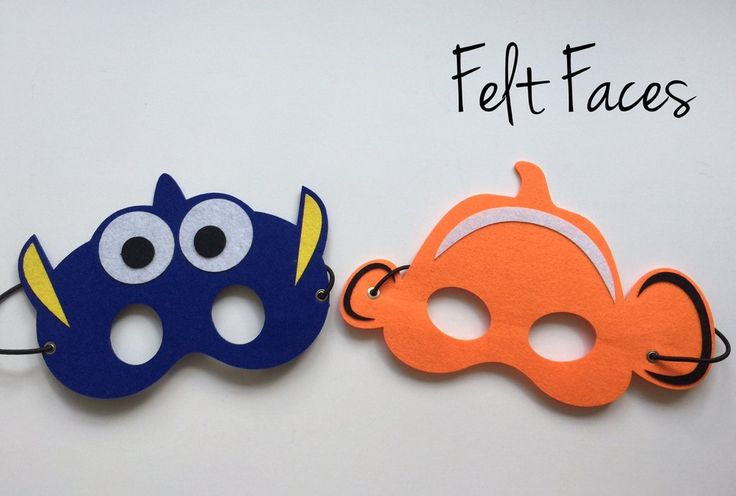 One set of 2 Nemo and Dory party masks, one of each style shown in the photo. Each mask is made with premium felt, and has an black elastic band attached to each side of the back. These adorable party