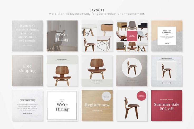 Social Media Layouts - Instagram by Rhett Dashwood on @creativemarket