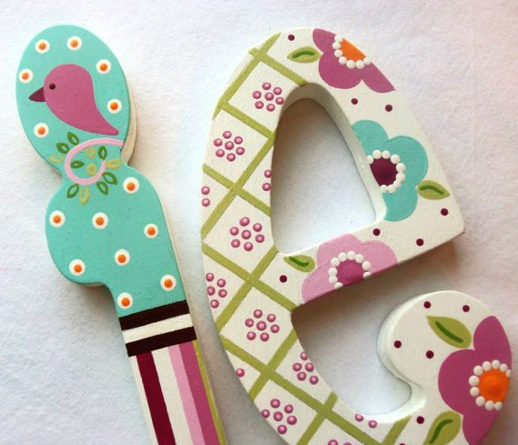 BLOSSOM  Personalized Custom Painted Decorative Wooden Wall Letters...Priced Per Letter on Etsy, $22.00