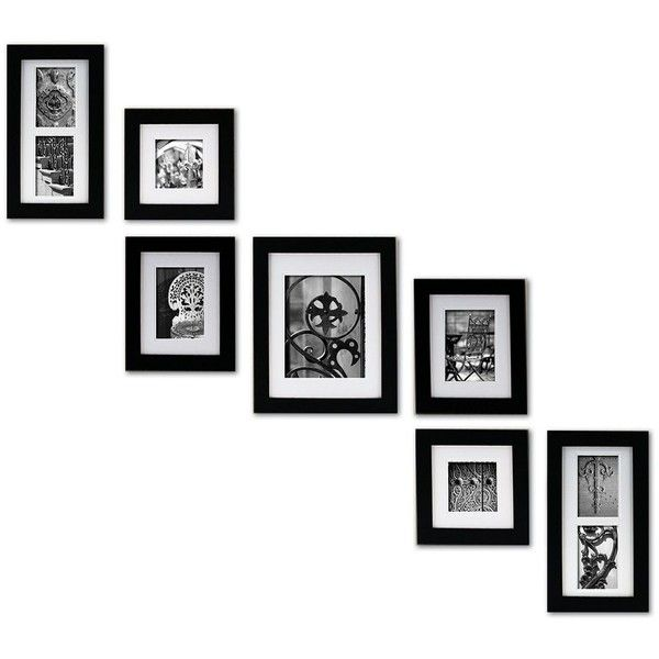 Create A Gallery 7 Piece Frame Set Black 84 Liked On Polyvore Featuring Home Home Decor F Gallery Wall Picture Frames Picture Frame Wall Frames On Wall