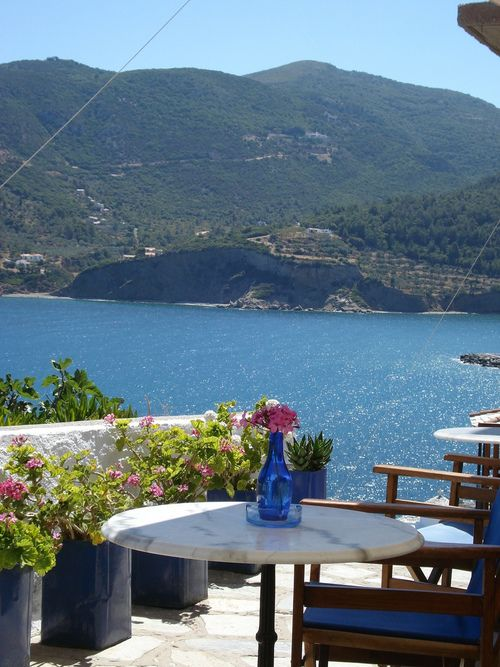 Skopelos, Greece mm I would love to drink morning tea with this view!!!