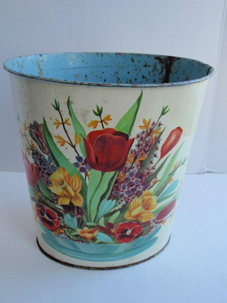 Vintage Cheinco Metal Floral Trash Can Wastebasket Spring