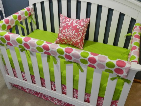 21 best Pink n Green Crib Bedding images on Pinterest Baby girls