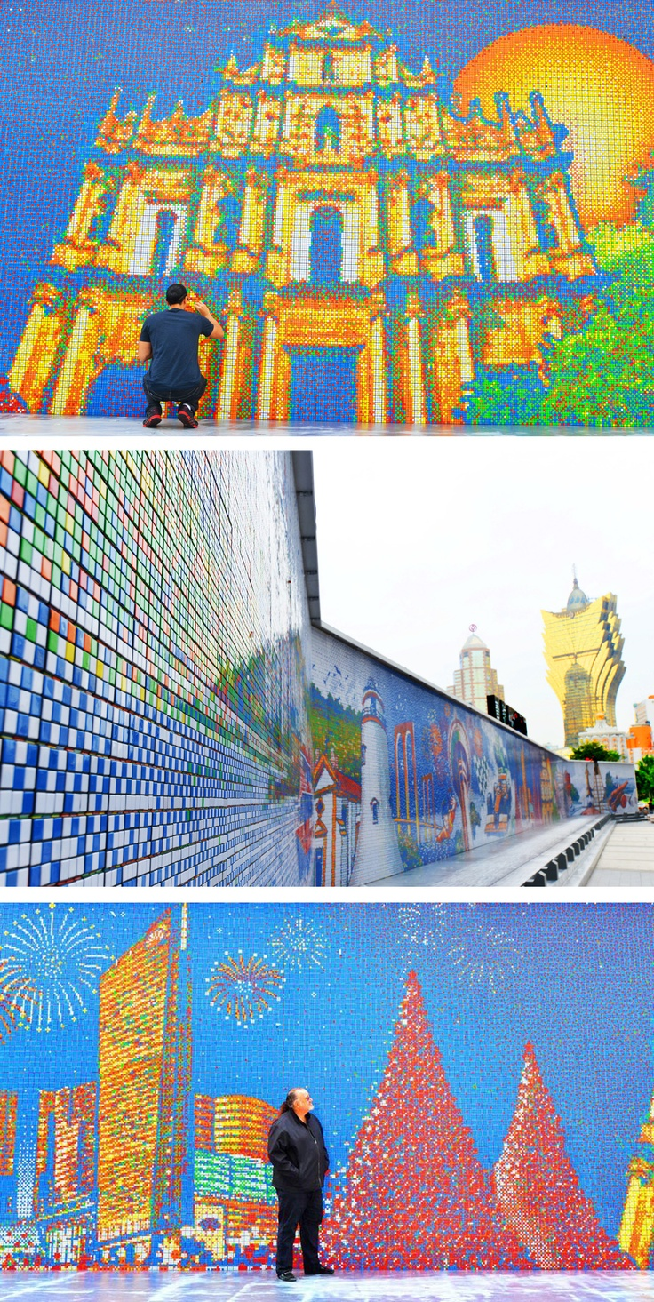 Largest Rubik's Cube Mural created by using 85,794 Rubik's Cubes to recreate the skyline of Macau, China - 13 feet high and stretches over 200 feet wide - http://www.cubeworks.ca/?p=2677