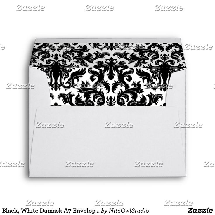 """Black, White Damask A7 Envelope for 5""""x7"""" Sizes This stylish and modern black and white damask A7 envelope matches the wedding invitation shown below. If you require any other matching items in this design, please email your request to niteowlstudio@gmail.com."""