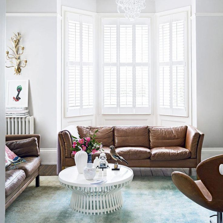 Modern White Living Room With Leather Sofa Brown Living Room Brown Sofa Living Room Brown Leather Sofa Living Room