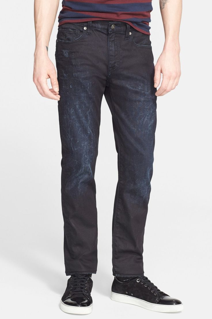 'Death or Glory' Waxed Skinny Fit Jeans (Dark Blue)