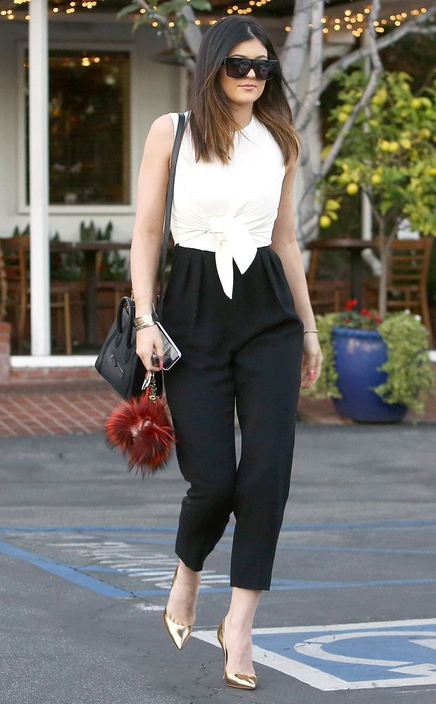 Kylie Jenner goes for daytime glam in black and white. #style