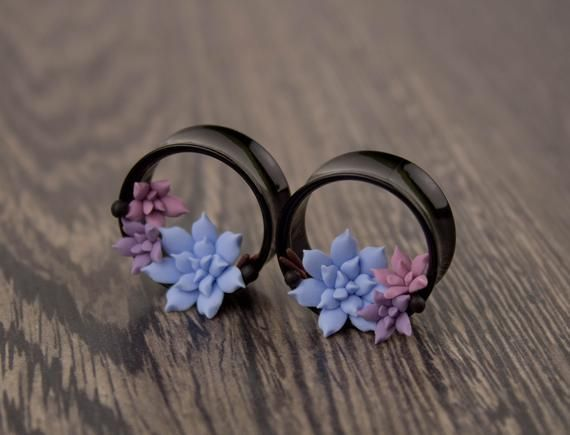 Forget Me Not flower 0g 8mm ear plugs floral ear gauges tunnels plug earring real flower stretcher Flesh tunnel 0 plug unusual girly tunnels