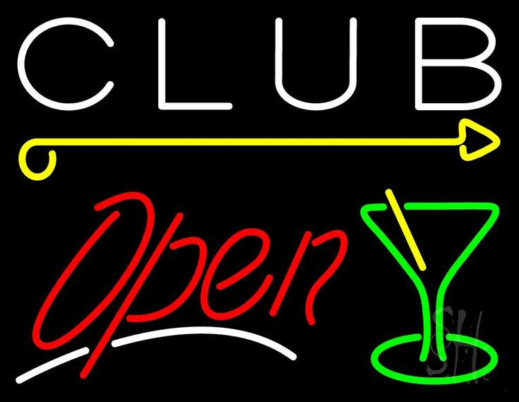 Martini Glass Club Open 1 Neon Sign 24 Tall x 31 Wide x 3 Deep, is 100% Handcrafted with Real Glass Tube Neon Sign. !!! Made in USA !!!  Colors on the sign are Green, Red, Yellow and White. Martini Glass Club Open 1 Neon Sign is high impact, eye catching, real glass tube neon sign. This characteristic glow can attract customers like nothing else, virtually burning your identity into the minds of potential and future customers.