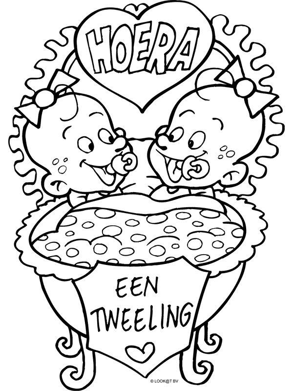 Kleurplaat Een tweeling - Kleurplaten.nl