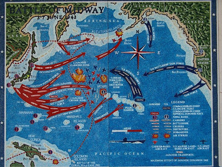 Interesting map of the Battle of Midway