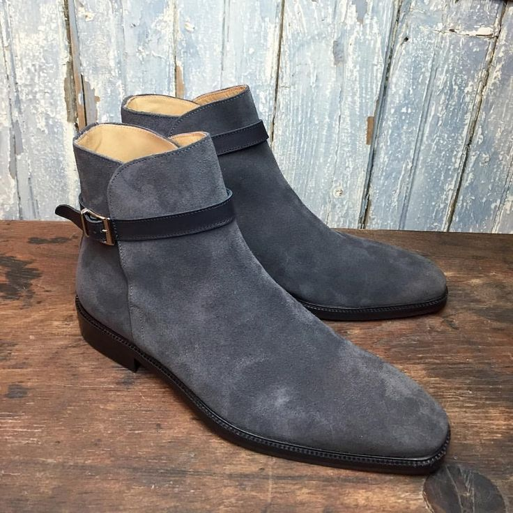 Handmade men gray boots, suede jodhpur boots for men, men dress formal boots - Boots