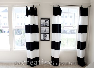 Charming The Creative Imperative: Black And White Horizontal Striped Curtains {made  From Tablecloths}