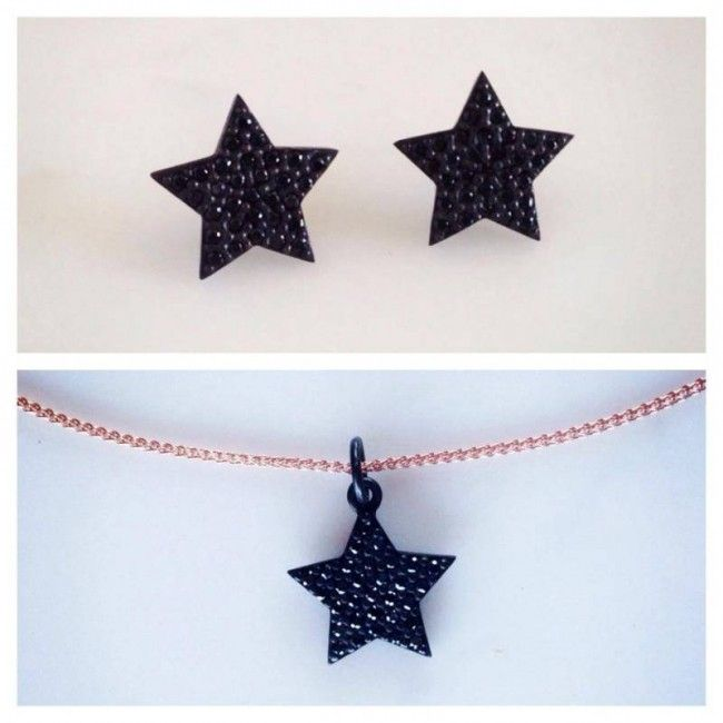 Set from Star earrings and Star necklace with Spinel stones Price: 62€