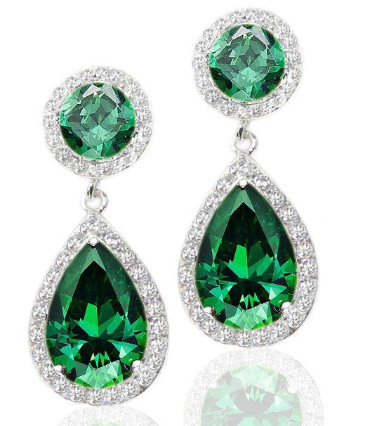 Cercei cu zirconii naturale Luxury Emerald M511