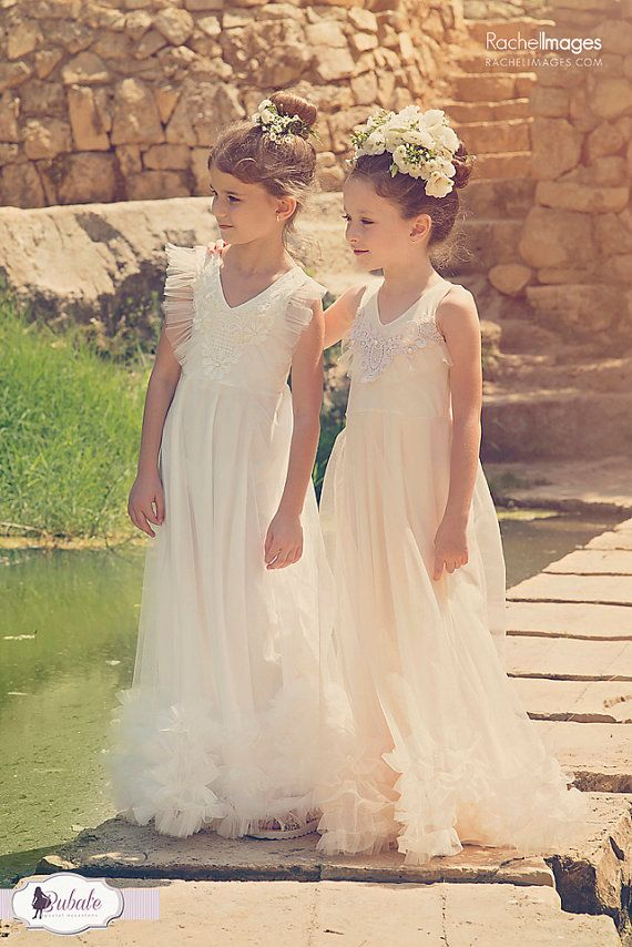 Flower Girl Tulle Dress Baby Girl Ivory Gown Ruffle by Bubale1
