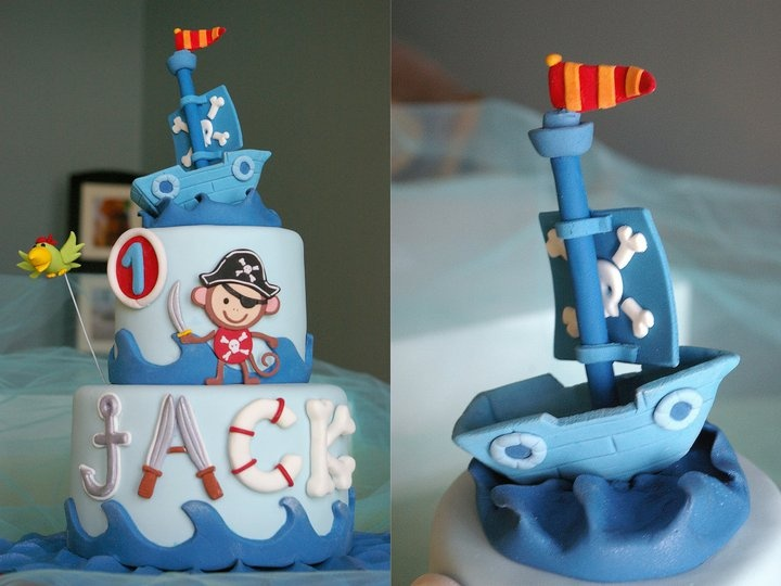 Nautical Baby Monkey Pirate Cake