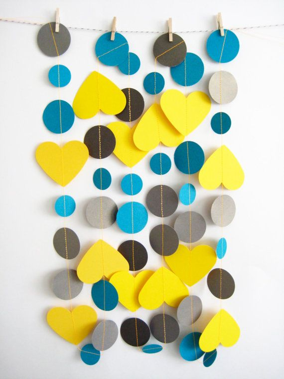 inkwhimsy: Yellow Blue and Gray Paper Garland in Mixed Hearts and Circles