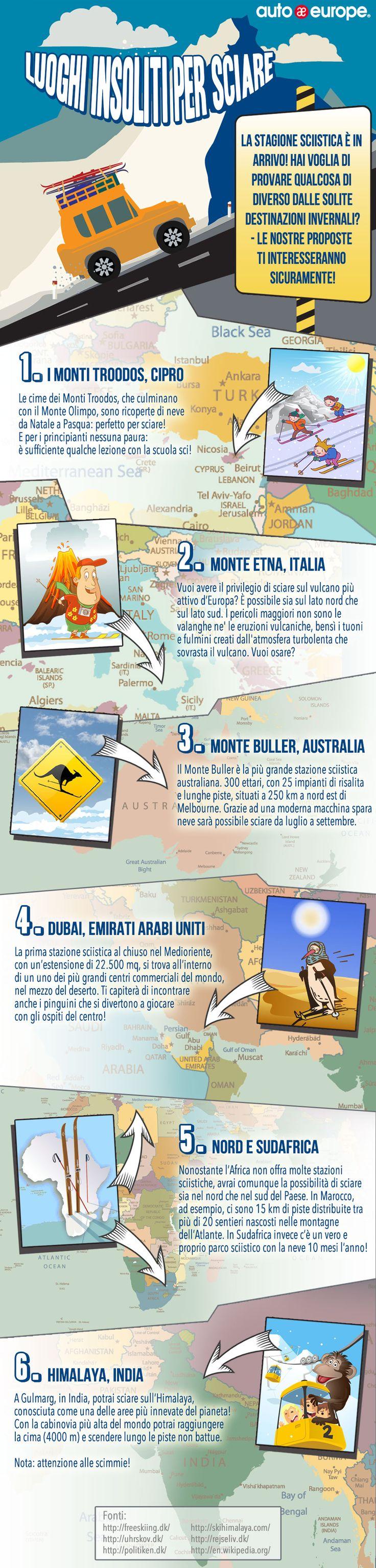 Infografica Luoghi insoliti per sciare Consulta qui le altre infografiche di Auto Europe