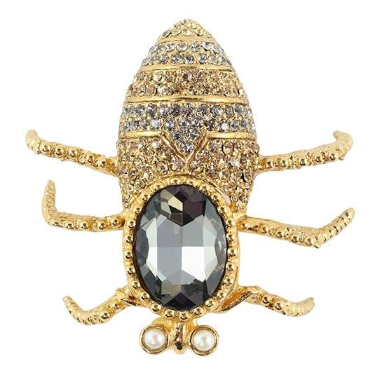 Ciner NY Gold-tone & Black Diamond Crystal Insect Brooch