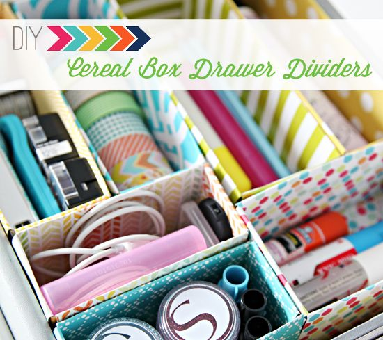 Cereal boxes covered in shelf liner or wrapping paper make for great divided storage in a desk drawer. Use an exacto knife to trim the boxes to suit the drawer.