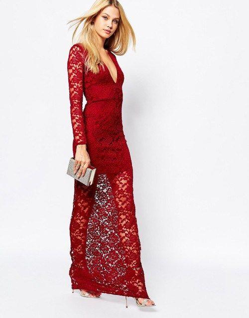 Maxi κόκκινο φόρεμα από δαντέλα με μακριά μανίκια