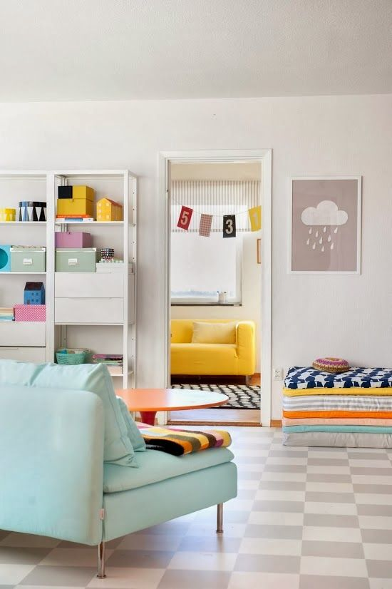 Bright and cheery - love the floors!