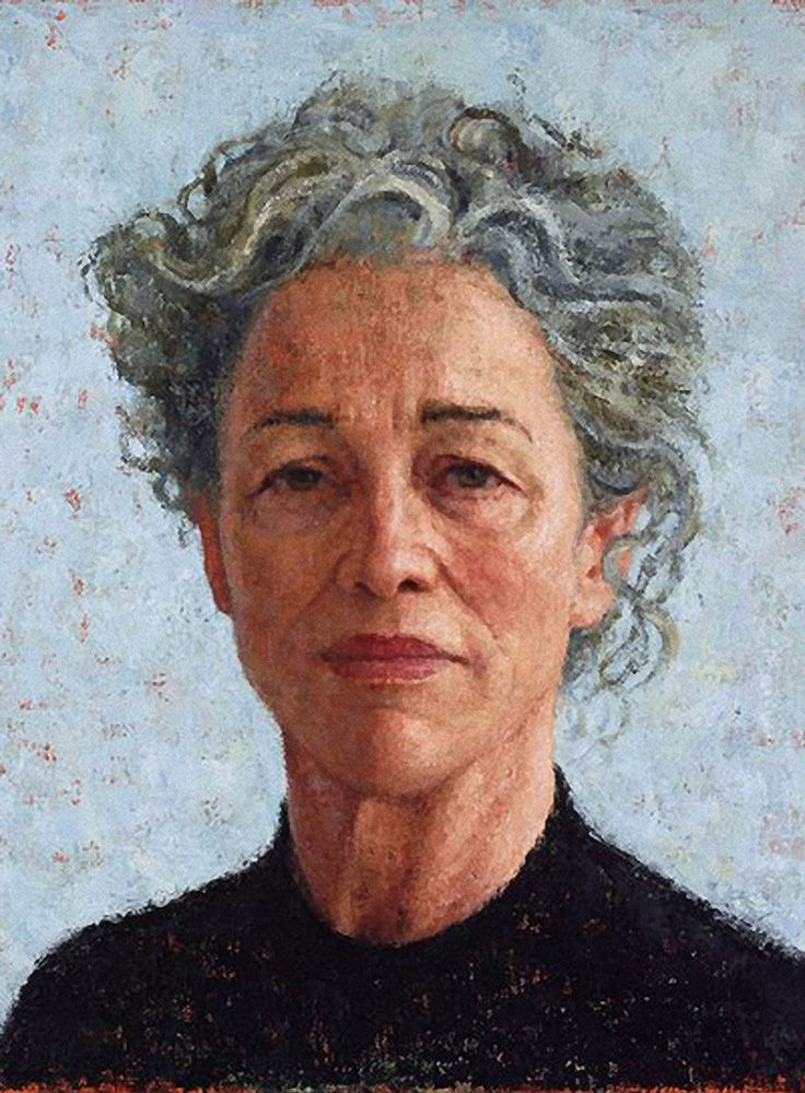 """""""Sarah Peirse"""" - Jude Rae, oil on linen, 2014 {figurative art female head gray-haired mature woman face portrait painting}"""