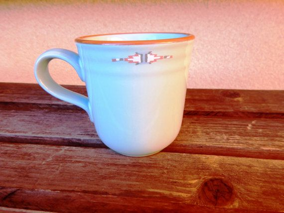 NORITAKE Boulder Ridge #8674 Coffee Mug. Measures Approx: 4 Tall. Features: Turquoise Blue-Green Tribal Southwestern Design with Brown Terracotta