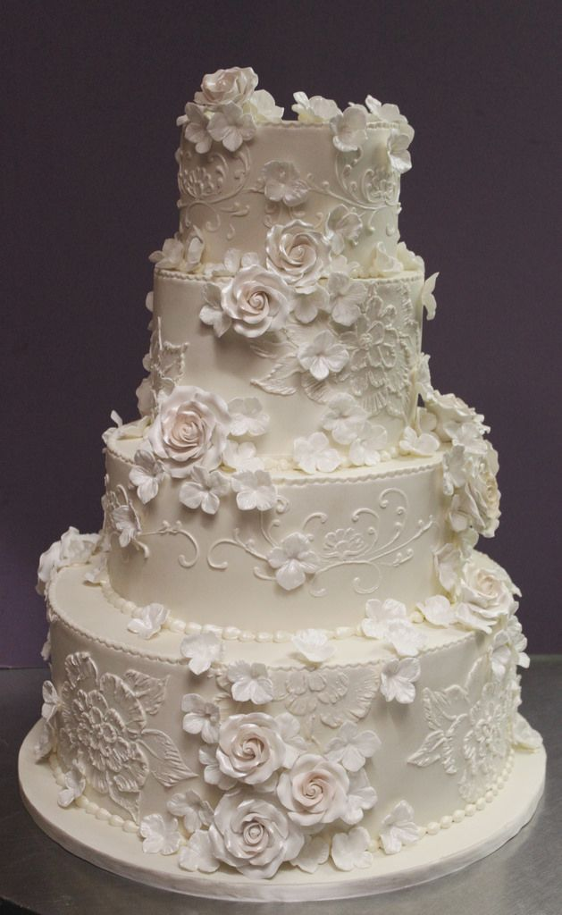 wedding cakes roses lace and flowers in pearl ivory wedding 25391
