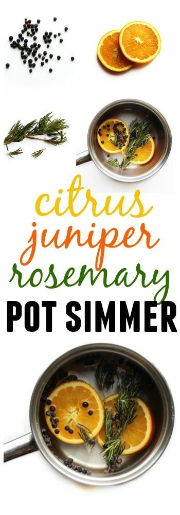Make your house smell like the holidays! A woodsy and herby pot simmer made with orange, juniper berries, and rosemary