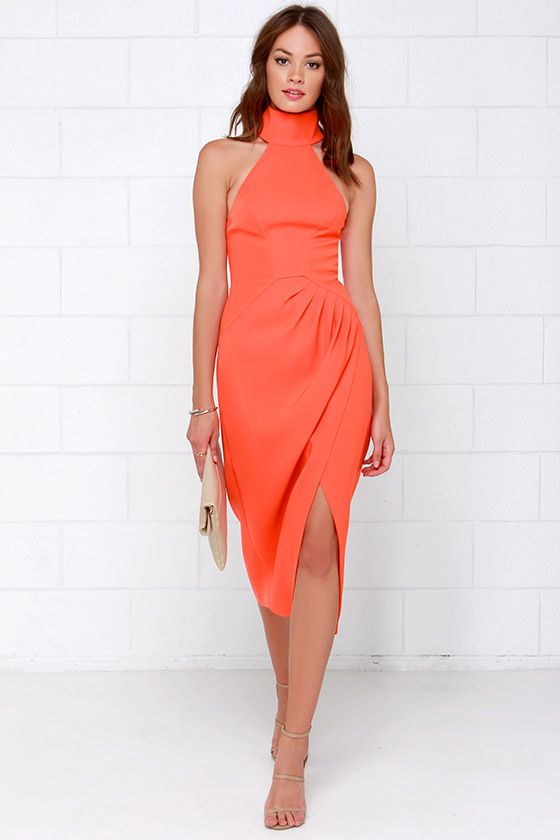 Cameo Kiss Land Orange Midi Dress at Lulus.com!