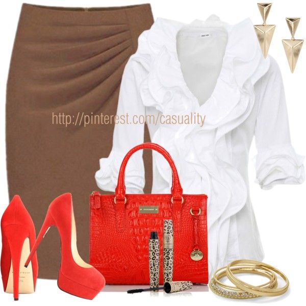 Maryilyn Red Suede Platform Pumps & Brown Business Skirt - Polyvore Need to make this outfit happen