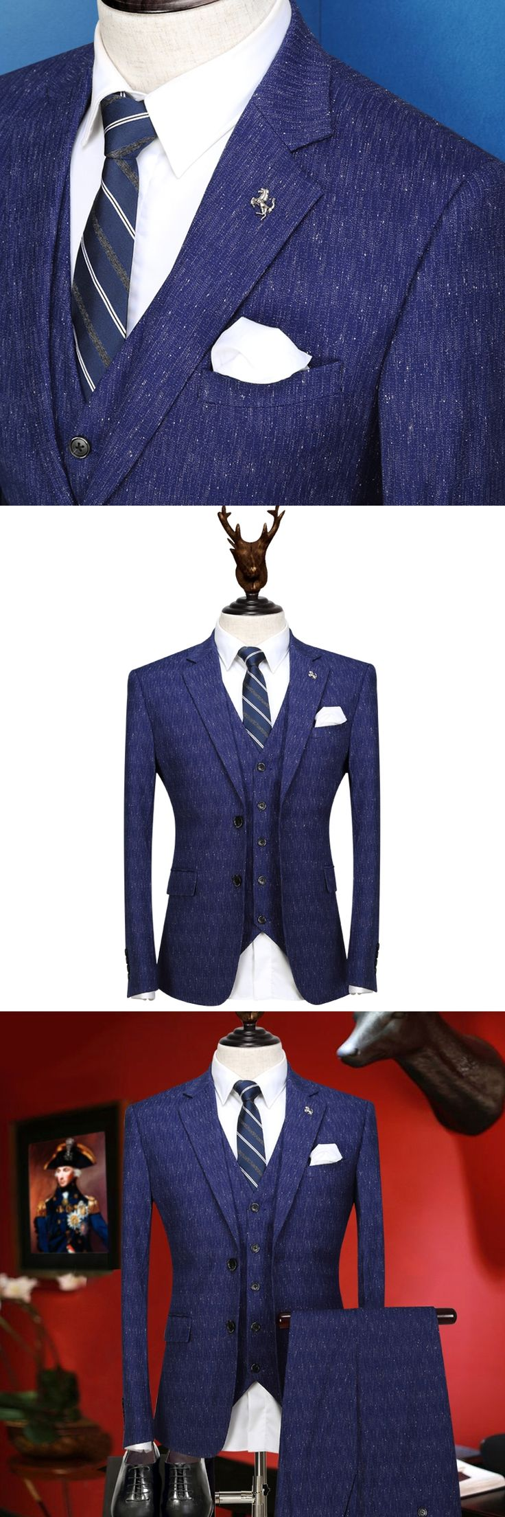 men suit new arrivals retro blue wedding groom wear fashion young man suits set 3 pieces blazer vest pant single breasted tuxedo