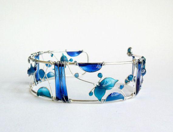 Blue sea bracelet resin cuff wire dragonfly by ThePurpleBalloon, $60.00