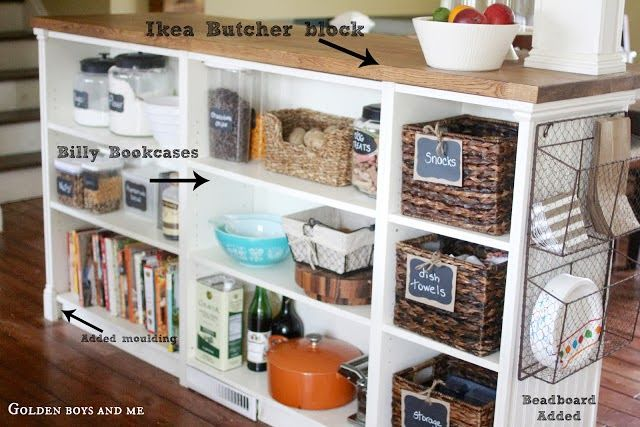 Clever Ikea Hack: Materials: Billy bookcases and Numerar countertop Description: We took down a wall between our kitchen and living room and created a room divider/island with Billy bookcases and Numerar butcher block countertop. We covered the back of the bookcases with beadboard and trimmed the whole thing with moulding from a big box store.