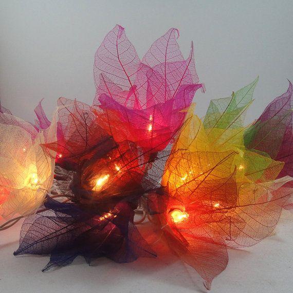 20 Multi Color Bodhi Leave Flower Fairy Lights String 3.5M Home Accent Floral Decor. $13.47, via Etsy.