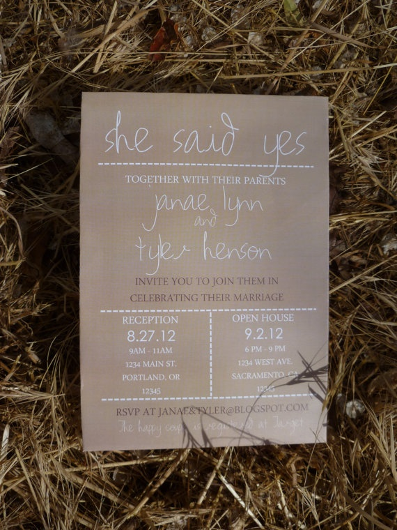 Simple Country Wedding Invitation by CoutureDetailsDesign on Etsy,